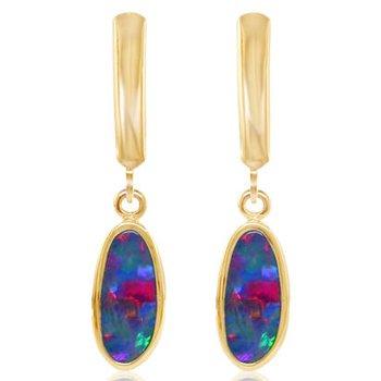 Australian Opal Doublet Leverback Earrings