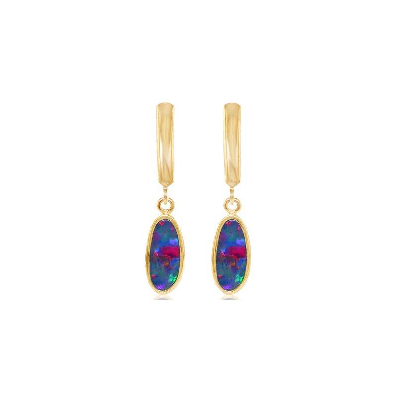 Lasker Gemstone Australian Opal Doublet Leverback Earrings