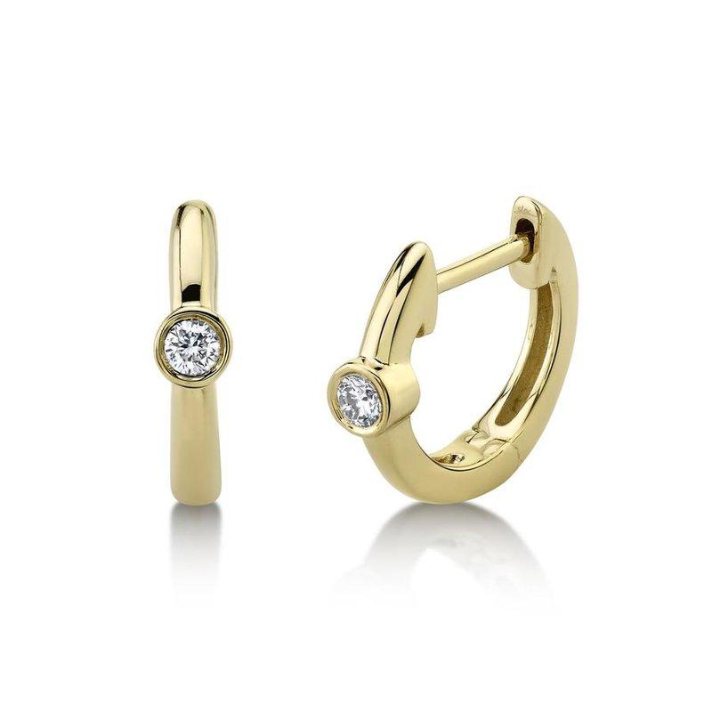 Lasker Diamond Fashion One and Only Bezel Set Huggie Earrings