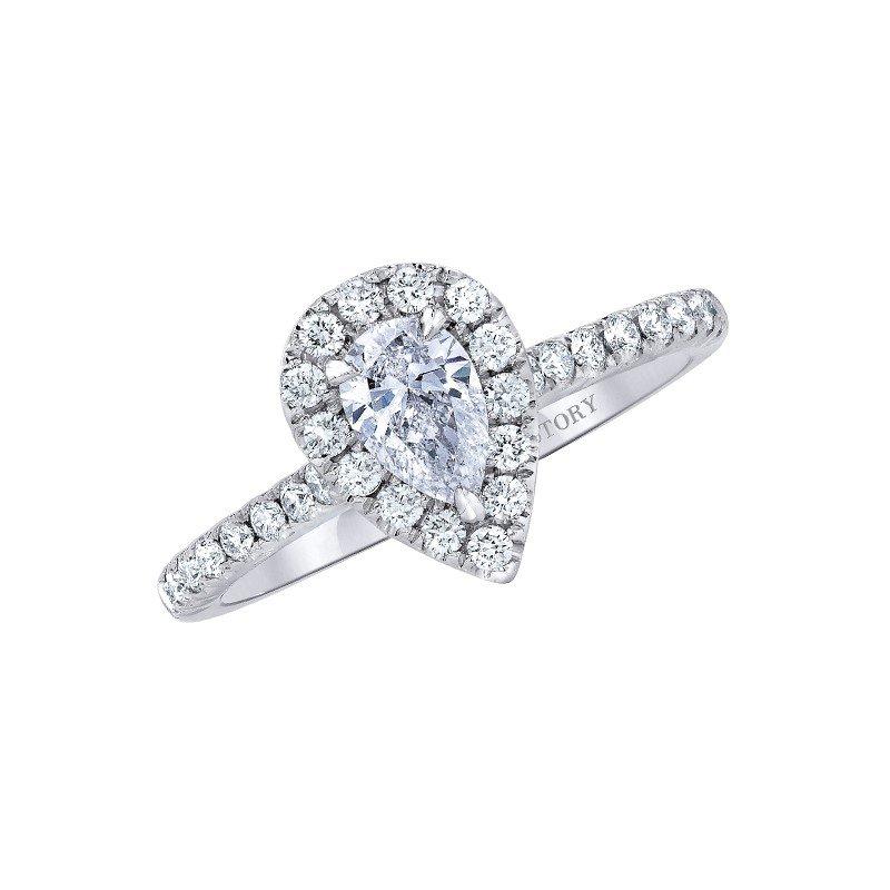 Lasker Bridal Pear Halo Diamond Ring - 1ct Center Diamond