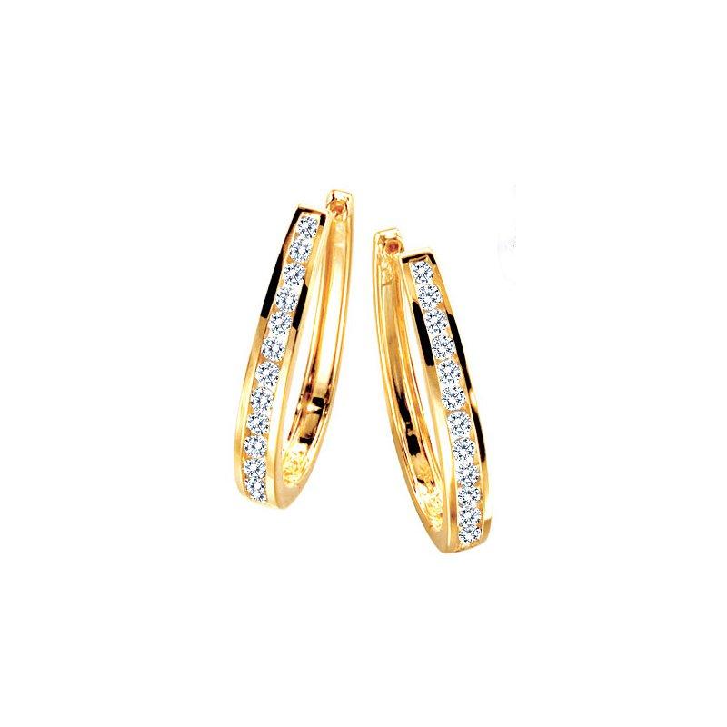 Lasker Diamond Fashion Everyday Diamond Channel Hoop Earrings