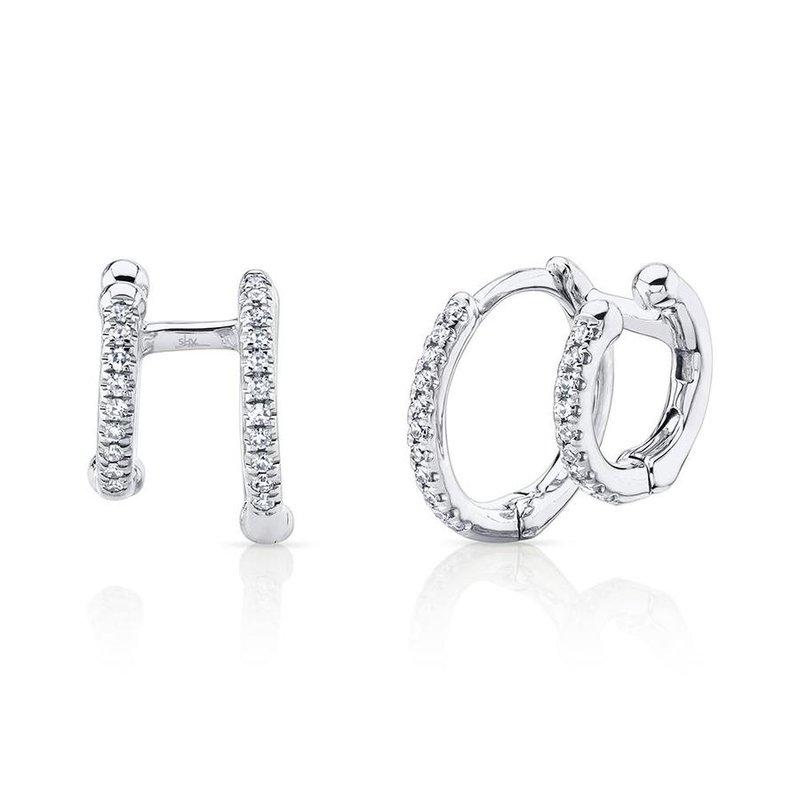 Lasker Diamond Fashion You & Me Double Huggie Earrings