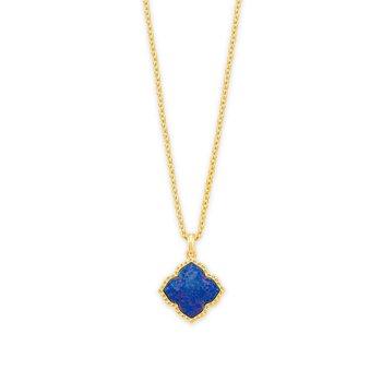 Kendra Scott Mallory Pendant Necklace Yellow Indigo Opal