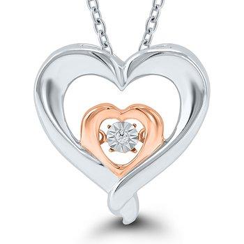 Sterling Silver & Rose Gold Diamond Heart Pendant