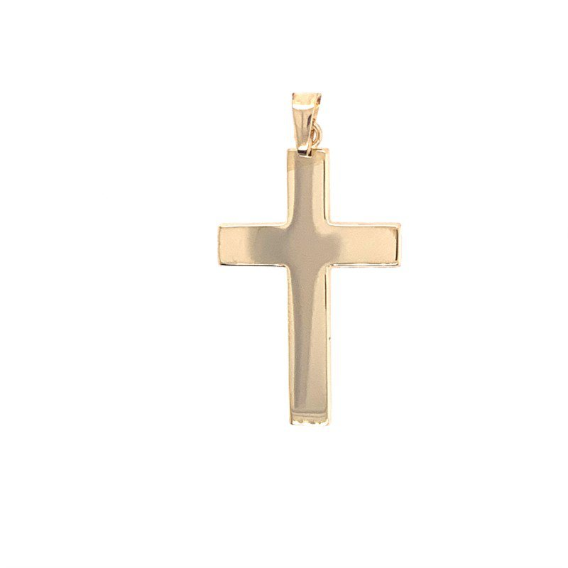 Lasker Gold Fashion Wide Yellow Gold Cross