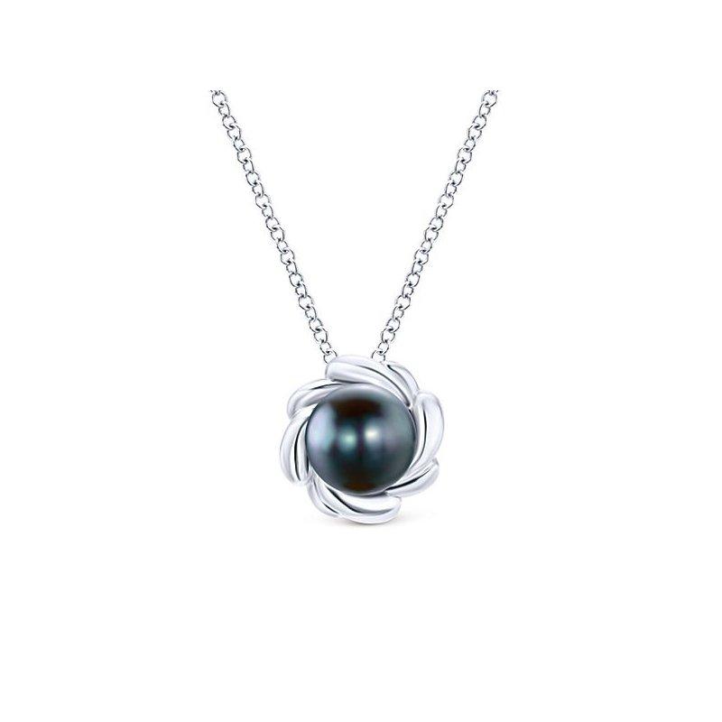 Gabriel Fashion Floral 7.5mm Black Pearl Pendant