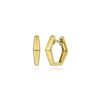 14K Yellow Gold Geometric Huggie Earrings