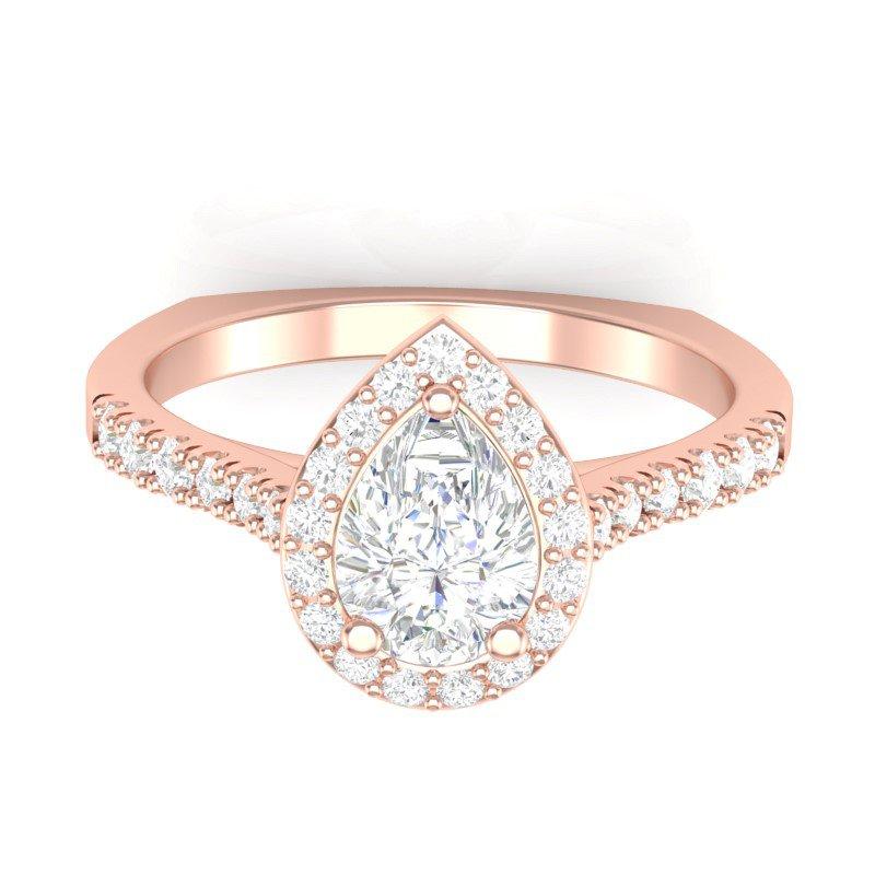 Lasker Bridal Center Of My World Pear-Shape Halo Ring