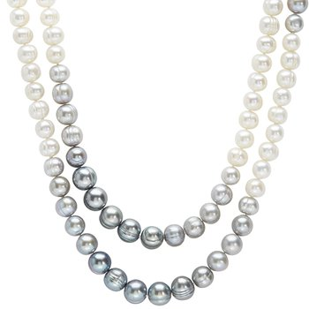Gray and White Fade Pearl Necklace