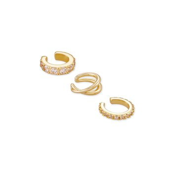 Kendra Scott Livy Earring Cuff Set Of 3 in Yellow Metal
