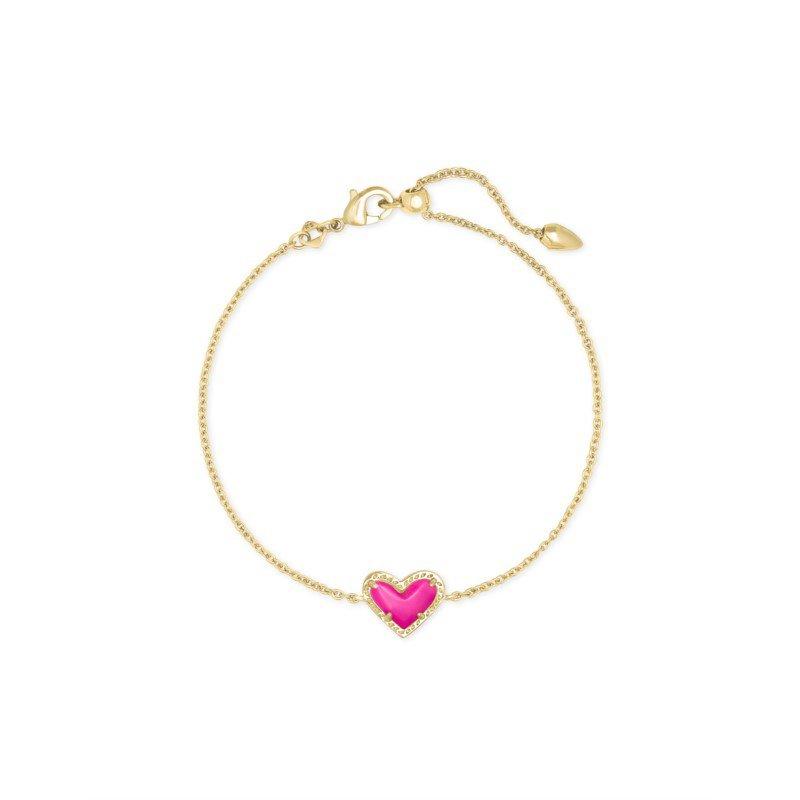 Kendra Scott Ari Heart Gold Chain Bracelet In Magenta Magnesite