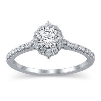 Tiara Halo Engagement Ring - 3/4CT Center