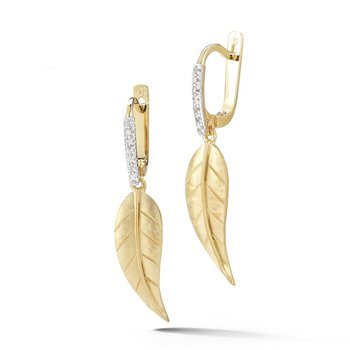 Small Leaf Drop Earrings with Diamonds