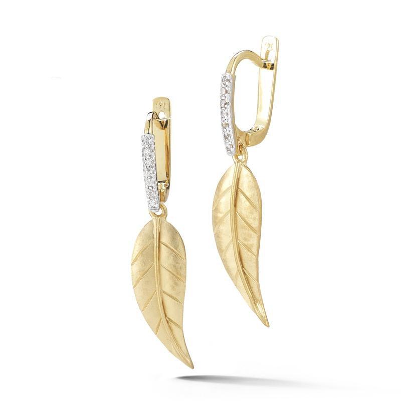 Lasker Gold Fashion Small Leaf Drop Earrings with Diamonds