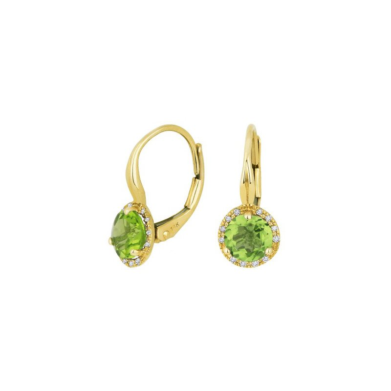 Lasker Gemstone Yellow Gold Peridot Earrings