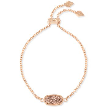 Elaina Rose Gold Adjustable Chain Bracelet In Rose Gold Drusy