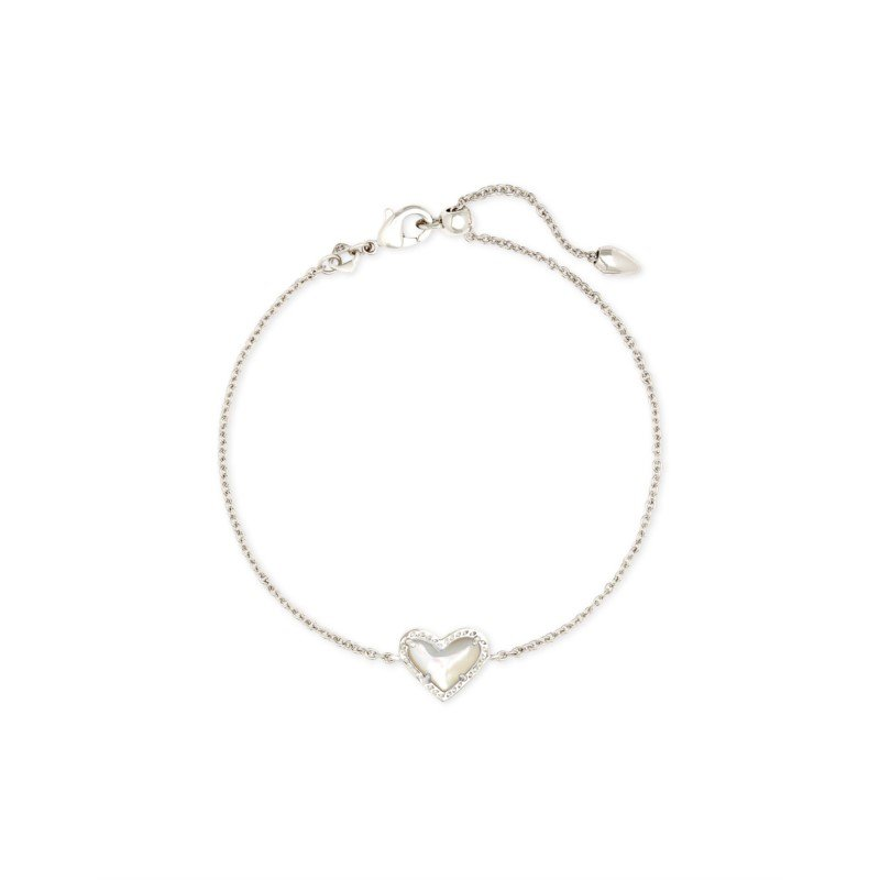 Kendra Scott Ari Heart Silver Chain Bracelet In Ivory Mother-Of-Pearl