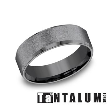 7mm Dark Tantalum Band With Beveled Edge
