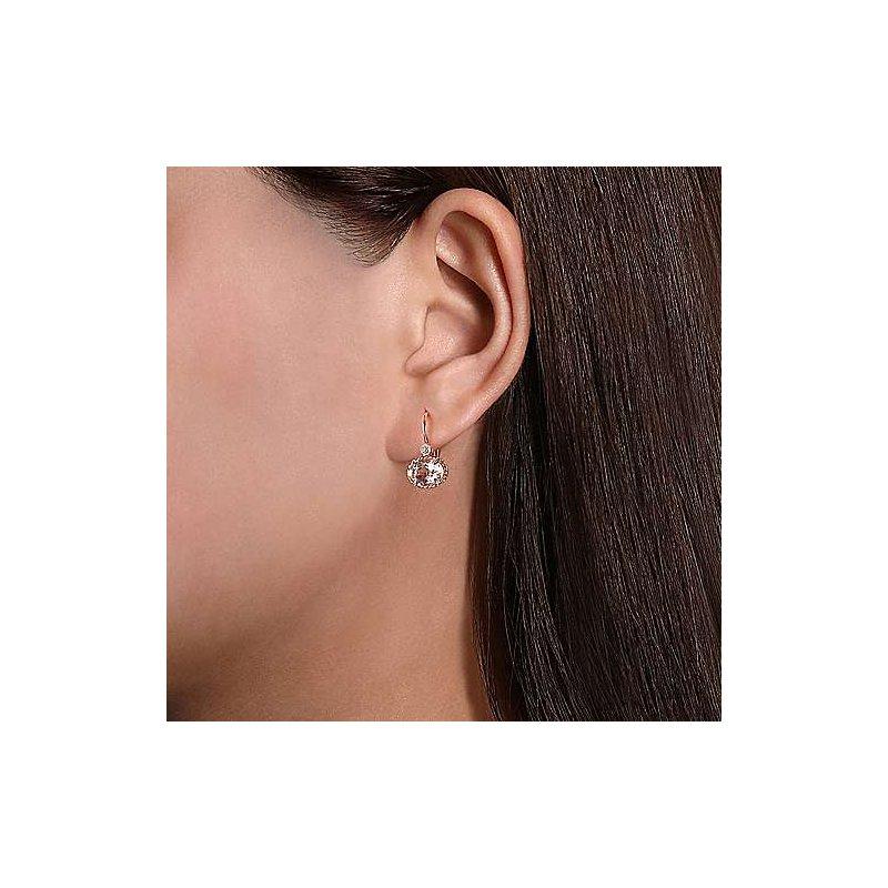 Gabriel Fashion Morganite & Diamond Drop Earrings