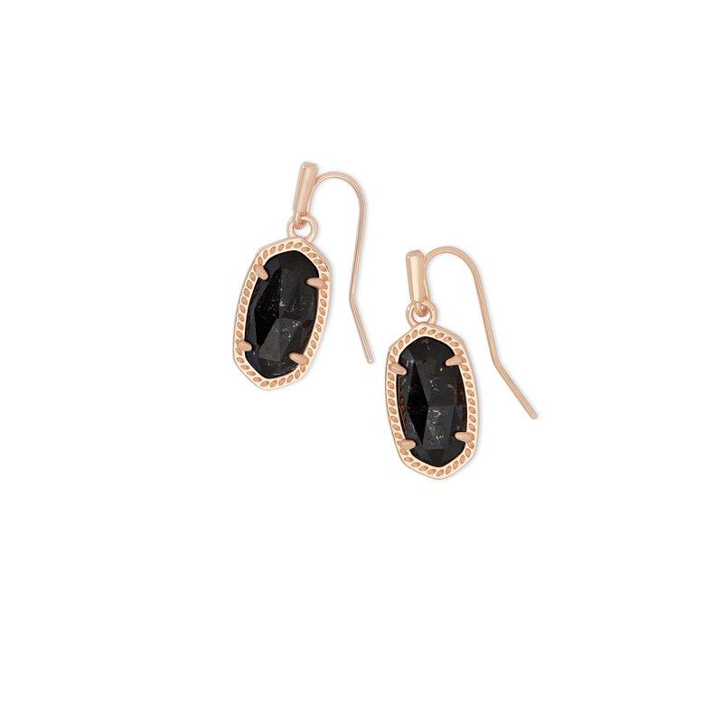 Kendra Scott Lee Rose Gold Drop Earrings In Black Granite