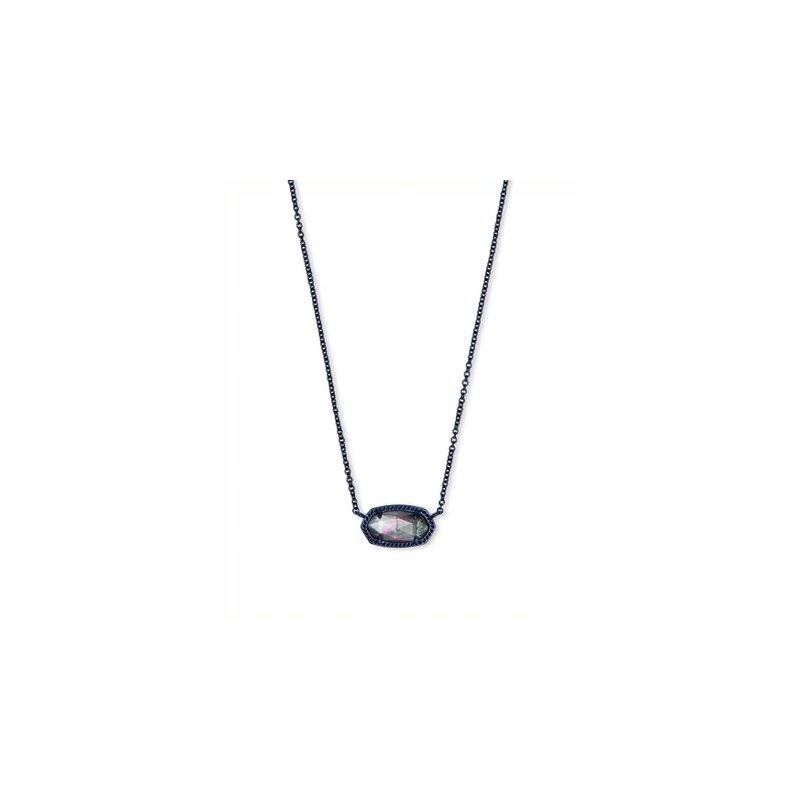 Kendra Scott Elisa Navy Gunmetal Pendant Necklace In Indigo Illusion