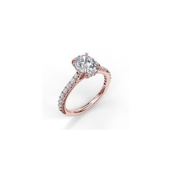 Oval Diamond Hidden Halo Ring Mounting - Rose Gold