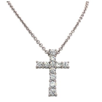 Large Classic Diamond Cross Pendant
