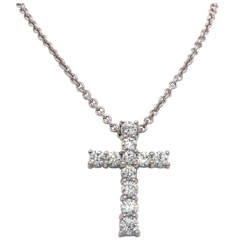 Suna Large Classic Diamond Cross Pendant