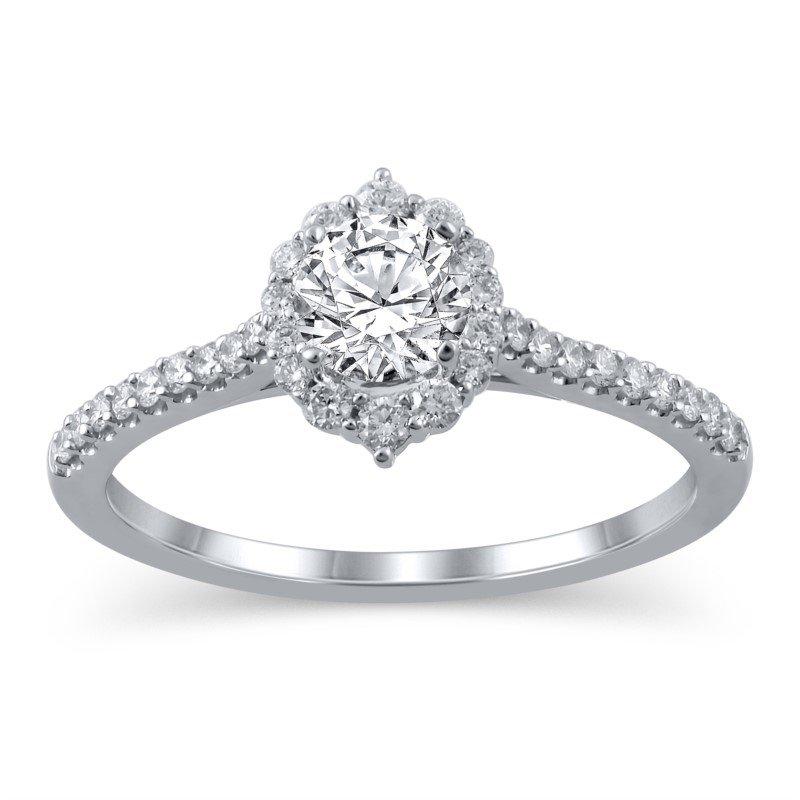 Lasker Bridal Tiara Halo Ring - 1ct Center Diamond