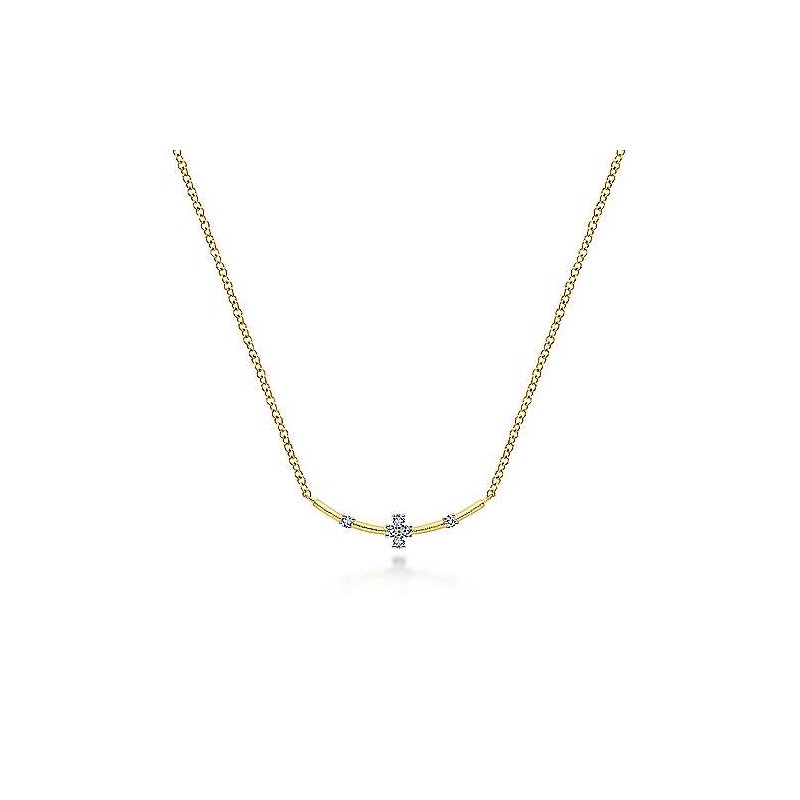 Gabriel Fashion 14K Yellow Gold Curved Bar Necklace with Diamond Stations