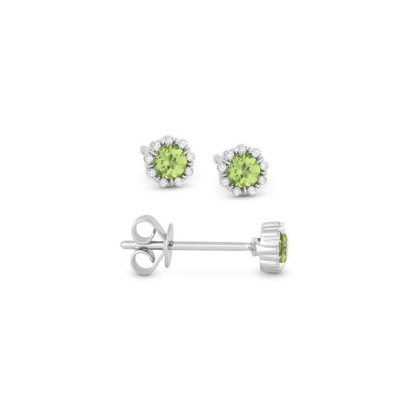 Lasker Gemstone Peridot & Diamond Stud Earrings