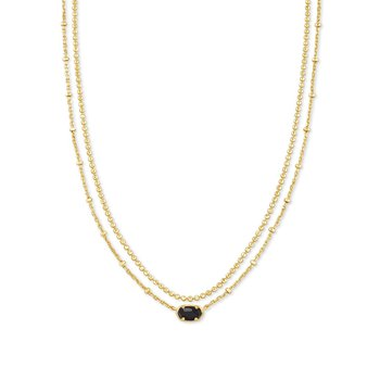 Emilie Gold Multi Strand Necklace In Black Obsidian