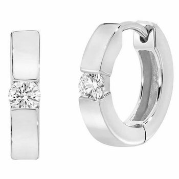 Diamond Solitaire Huggie Earrings