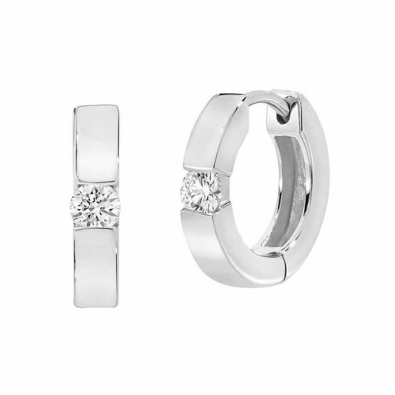 Lasker Diamond Fashion Diamond Solitaire Huggie Earrings