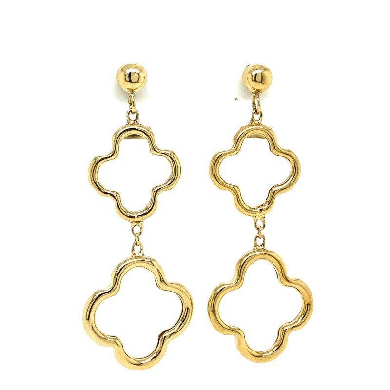 Lasker Gold Fashion Quatrefoil Dangle Earrings