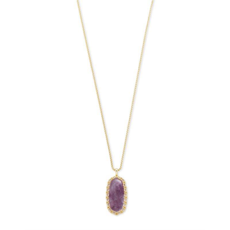 Kendra Scott Macrame Reid Gold Long Pendant Necklace In Purple Mica
