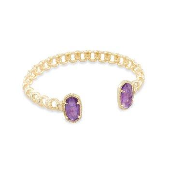 Macrame Elton Gold Cuff Bracelet In Purple Mica