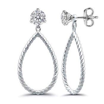 Sterling Silver Twisted Cable Teardrop Dangle Earring Jackets