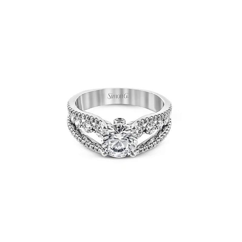 Simon G Split Shank Three Row Engagement Ring Mounting