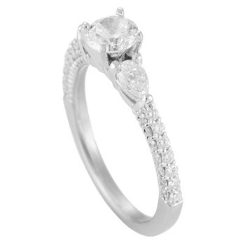 Three Stone Ring with Diamond Pave
