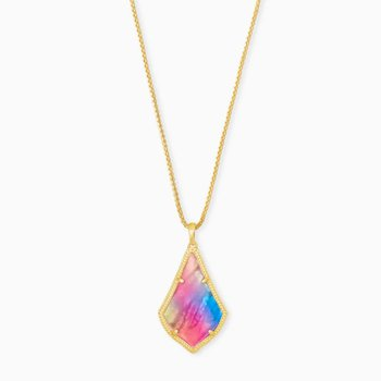 Kendra Scott Alex Pendant Yellow Long Pendant Necklace In Watercolor Illusion