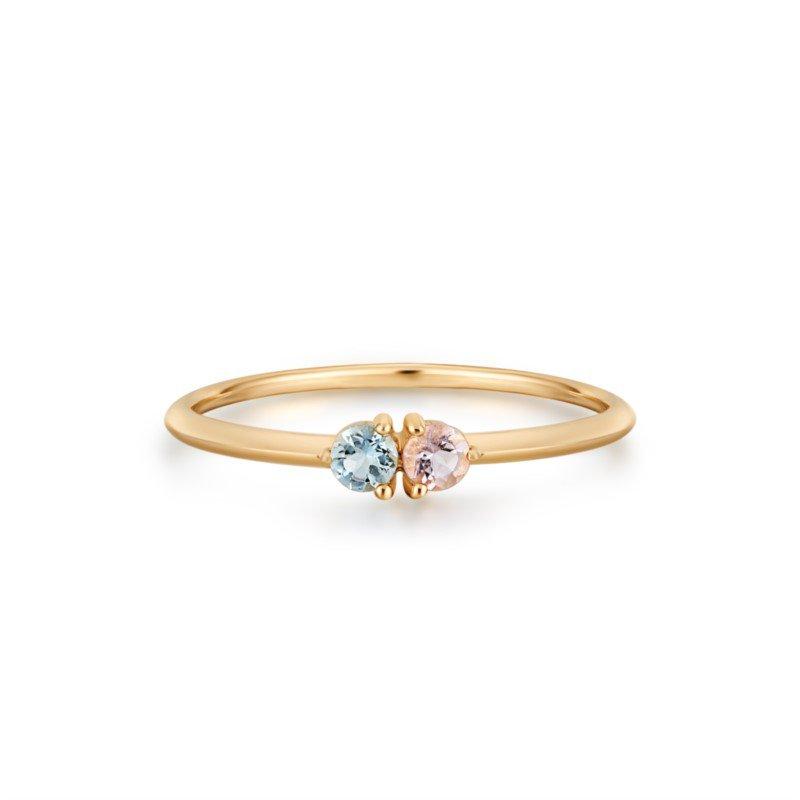 Aurelie Gi Pixie Aquamarine and Morganite Ring