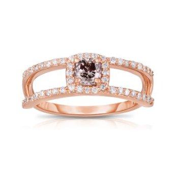 Cognac Diamond Split Band Ring