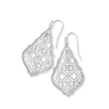Addie Silver Drop Earrings In Silver Filigree Mix