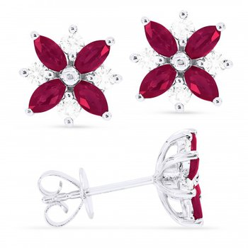 Ruby Flower Stud Earrings