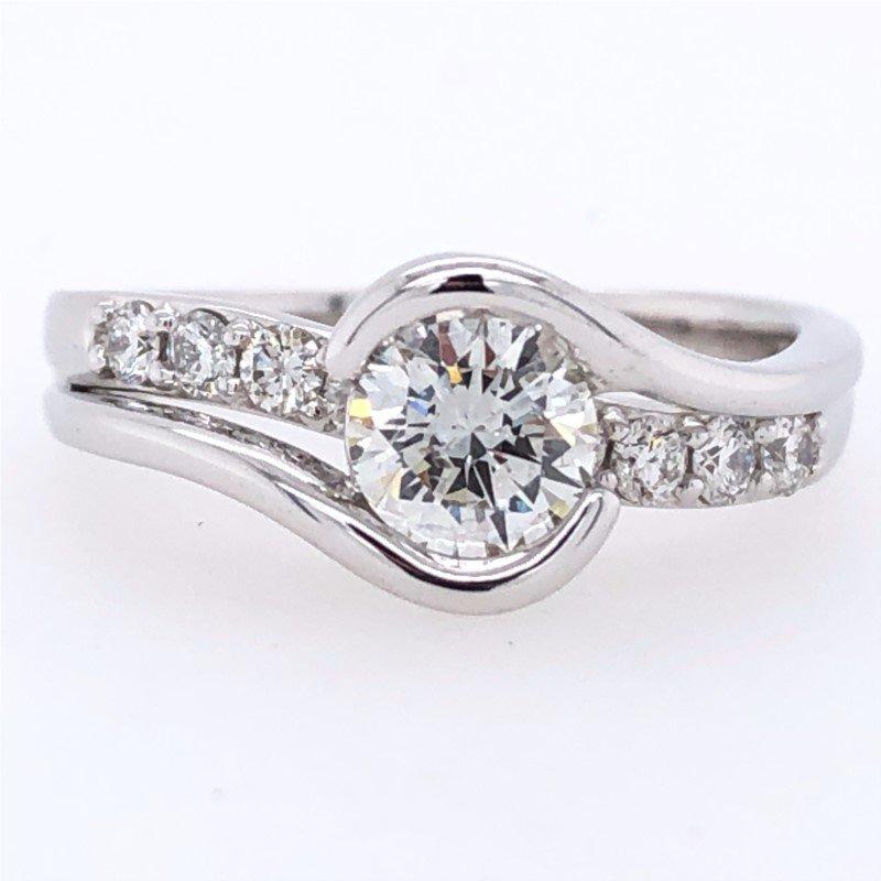 Lasker Bridal Round Half Bezel Set Ring