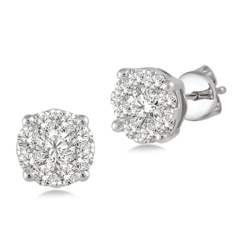 Lasker Diamond Fashion Lovebright Diamond Stud Earrings - 1cttw