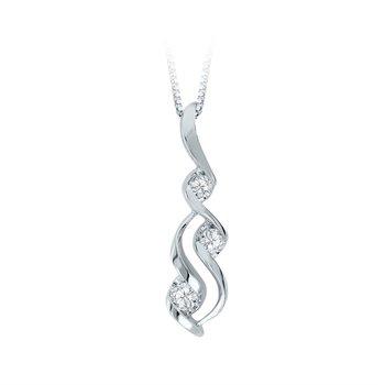 Wave Diamond Pendant .10cttw