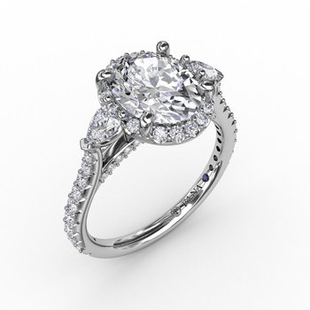 Three-Stone Engagement Ring Mounting with Round Diamond Halo