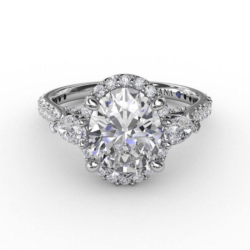 Fana Three-Stone Engagement Ring Mounting with Round Diamond Halo
